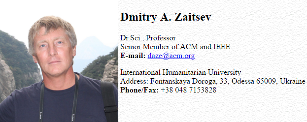 prof. Dimitry A. Zaitsev - business card