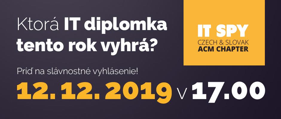 Ktorá IT diplomka tento rok vyhrá? Príď na slávnostné vyhlásenie! 12. 12. 2019 v 17.00